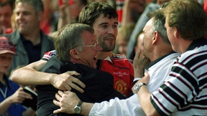 Happier times with Roy Keane - he added the FA Cup to the League title in '99...