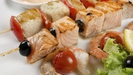 Fish Kebabs with salmon, prawn and cod
