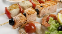 Fish Kebabs with salmon, prawn and cod - An easy and tasty meal, perfect as a healthier BBQ alternative.