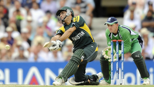 Misbah-ul-Haq in action against Ireland during a ICC World Twenty20 super-eight match at the Oval in 2009