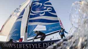 The Wave, Muscat in action during day three of the Extreme Sailing Series in Qingdao, China