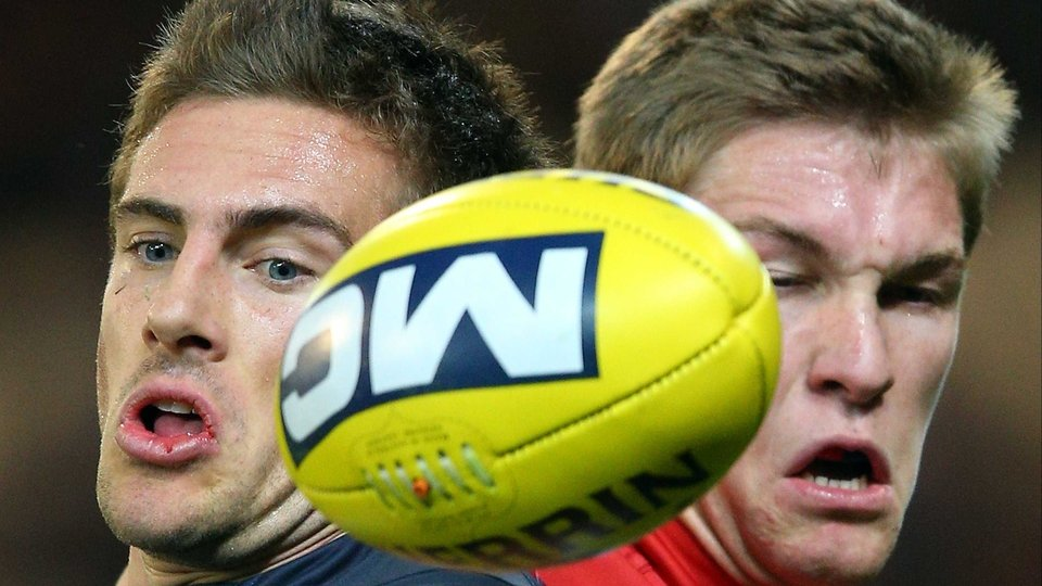 Shaun Hampson (L) of the Carlton Blues and Tom McDonald of the Melbourne Demons contest for the ball during an AFL match at the MCG