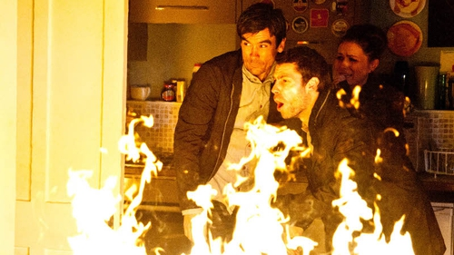 Cain, Andy and Amy battle the flames to save Kerry and Jack