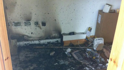 The constituency office of Government Chief Whip Paul Kehoe was damaged (Pic: Joe Mag Raollaigh)