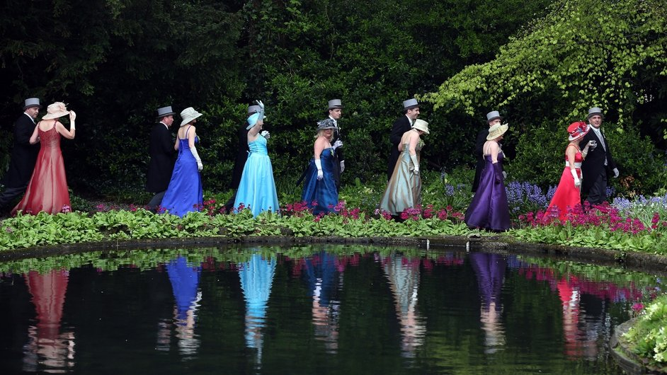 People take part in Flora Day celebrations in Lismore House, Helston in England