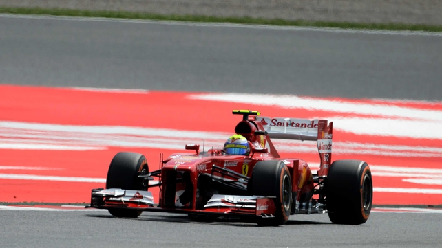 Ferrari's Brazilian driver Felipe Massa at the Circuit de Catalunya in Montmelo near Barcelona