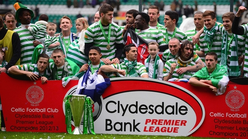Celtic were presented with the trophy after the 4-0 win