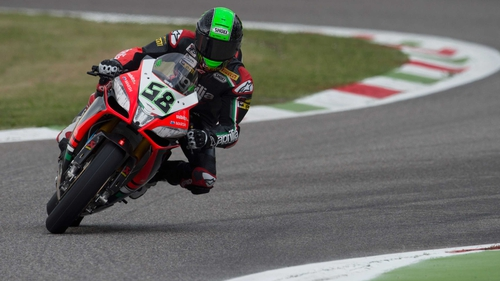 Eugene Laverty finished race two just behind the winner Chaz Davies