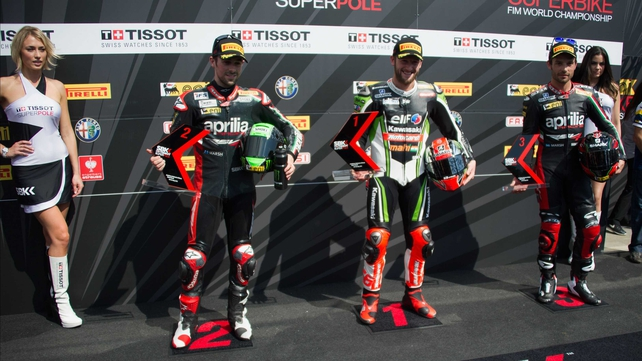 Eugene Laverty, Tom Sykes and Sylvain Guintoli of France filled the top three spots in qualifying