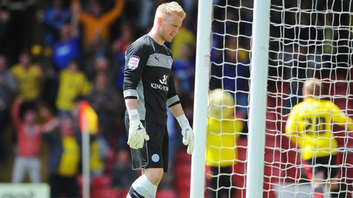 Kasper Schmeichel dejected after the first Watford goal