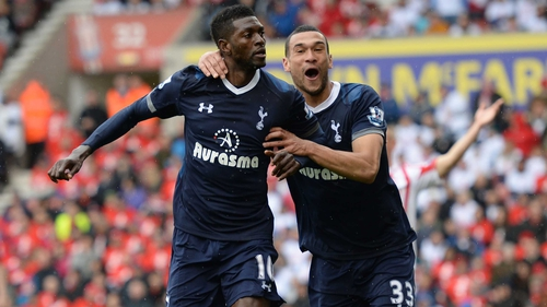 Emmanuel Adebayor scored another crucial goal for Spurs as they bid for Champions League football