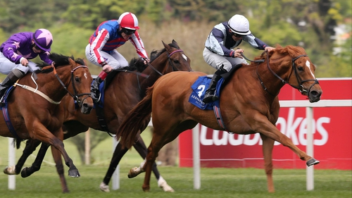 Wayne Lordan on Duntle hit the front in the Amethyst Stakes