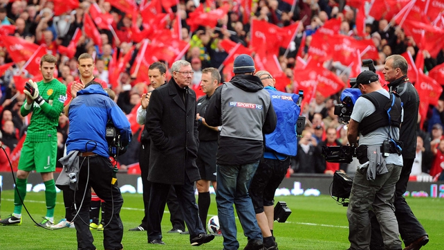 Alex Ferguson took charge of his last game at Old Trafford, United beat Swansea 2-1