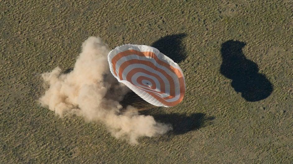 The Soyuz TMA-07M spacecraft lands in Kazakhstan