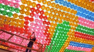 A South Korean worker attaches name cards with wishes from Buddhist followers to a lotus lantern at Jogye Temple in Seoul