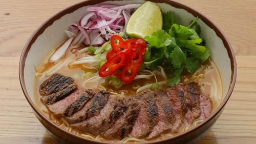 A delicious and filling main from Japan with a meat broth, special noodles and toppings of your choice