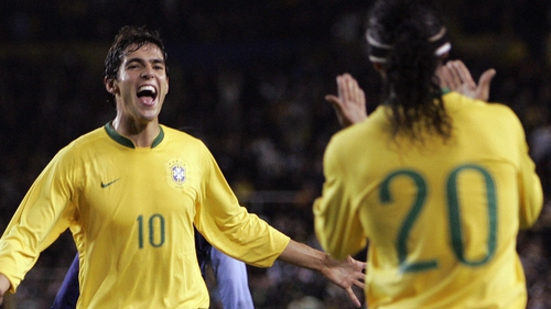 Kaka (l) and Ronaldinho miss out for Brazil who have played five matches under Scolari, with one win, three draws and one defeat