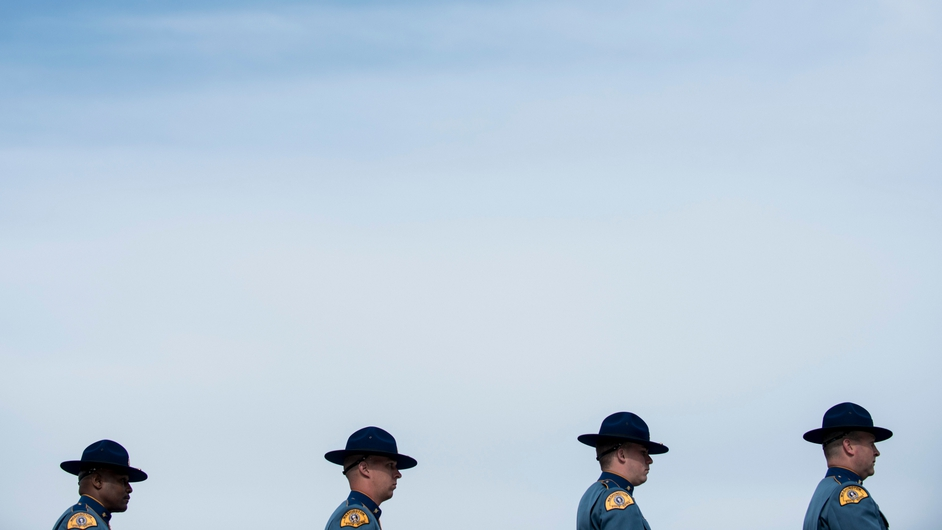 Members of the Washington State Police wait to compete in the 11th annual honor guard competition on Capitol Hill in Washington