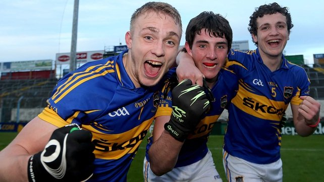 Kevin Fahey, Colin O'Riordan and Luke Boland celebrate after the game