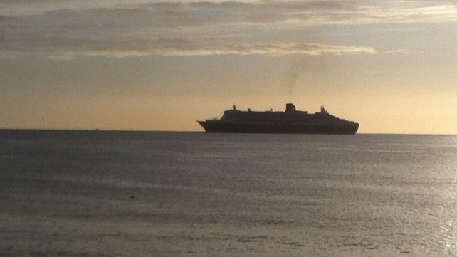 The ocean liner arrived into Dublin Bay earlier this morning
