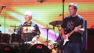 Eric Clapton performing with Ginger Baker in a rare Cream reunion