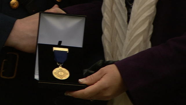 Remembrance medal was presented to the Donohoe family
