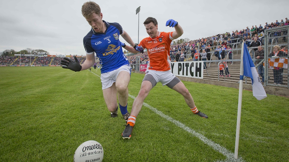 Cavan's Rory Dunne and Armagh's Stefan Forker tussle for possession during their Ulster SFC clash in Breffni Park
