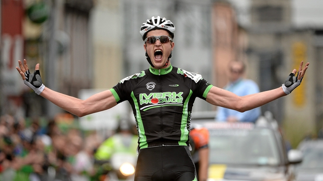 Conor Dunne celebrates winning the opening stage into Longford