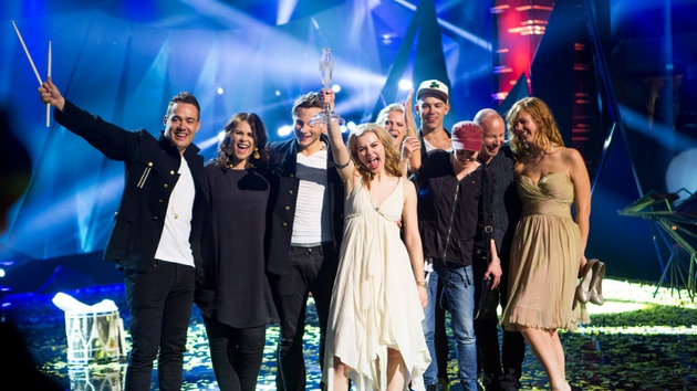 Denmark's Emmelie de Forest celebrates winning the 2013 Eurovision Song Contest