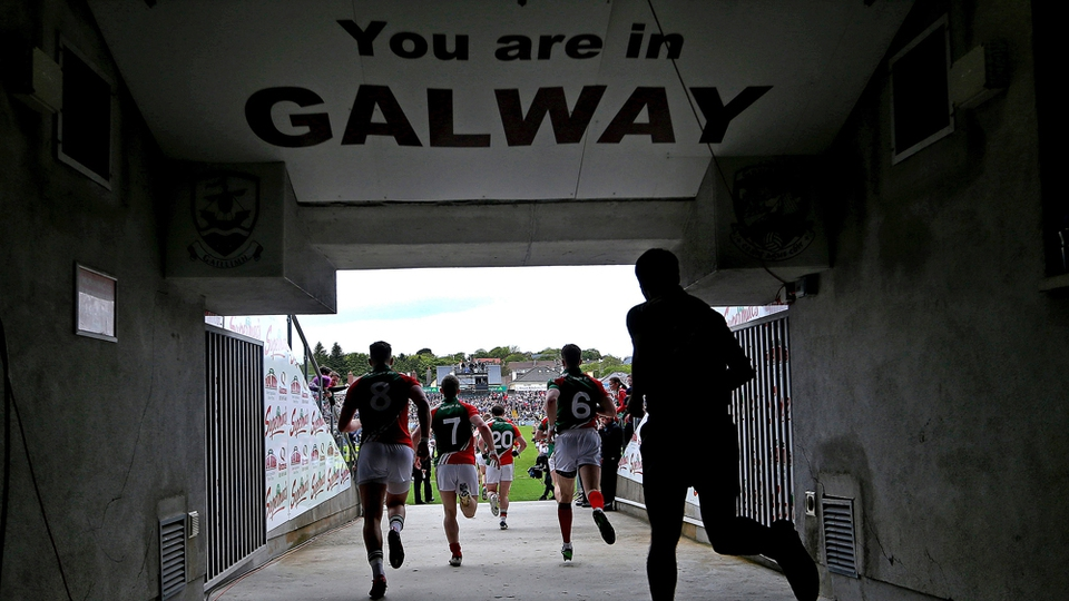 Mayo players run out of the tunnel in Pearse Stadium ahead of their Connacht SFC quarter-final with Galway