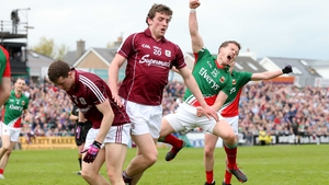 Andy Moran jumps for joy after his goal helped Mayo to a 4-16 to 0-11 win; the Ballaghaderreen clubman was making his return to action after a long injury lay-off
