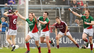 Andy Moran celebrates scoring a goal during Mayo's demolition of Galway earlier this summer.