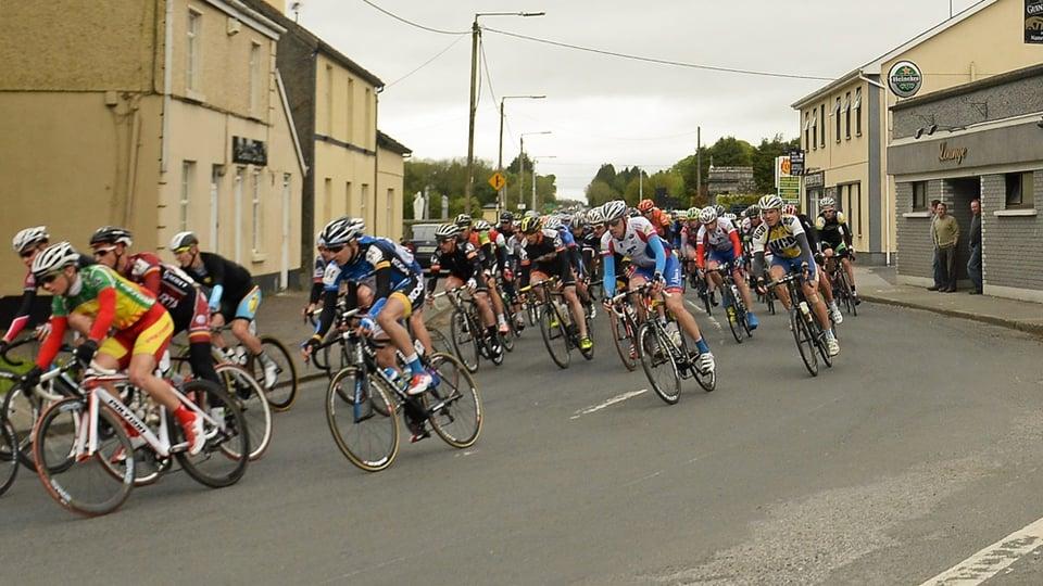 The peloton pass through Athleague, Co Roscommon