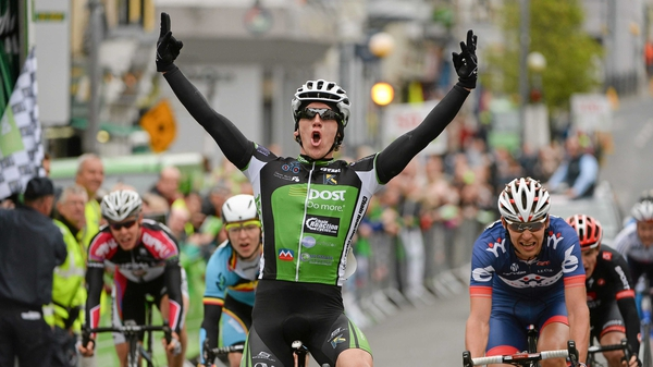 Shane Archbold, An Post Chain Reaction, celebrates as he crosses the line to win stage 2 of the 2013 An Post Rás