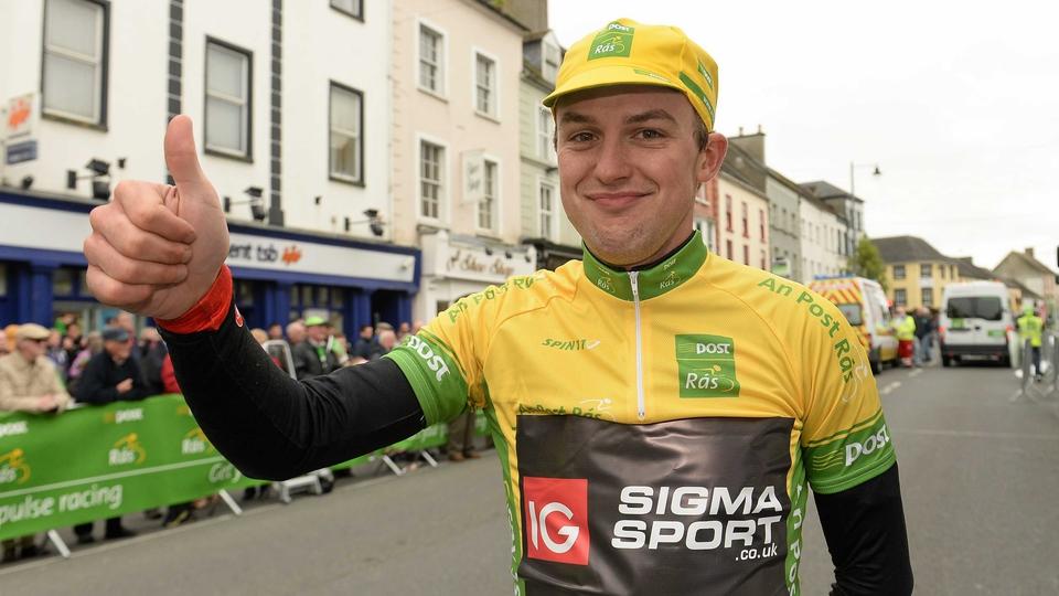 New yellow-jersey wearer Peter Hawkins