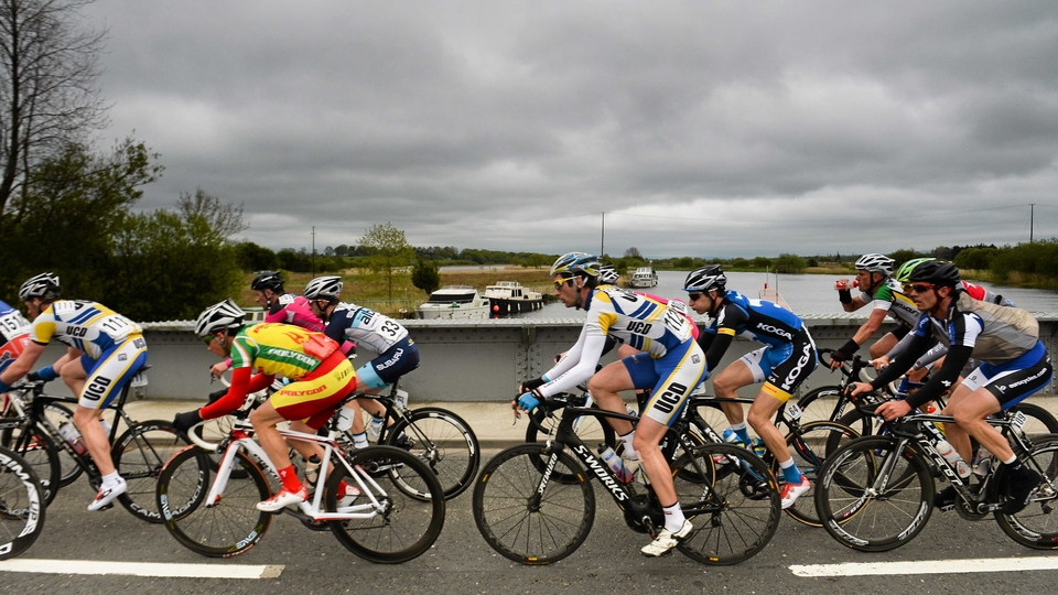 A general view of the riders as they cross the River Shannon in Portumna