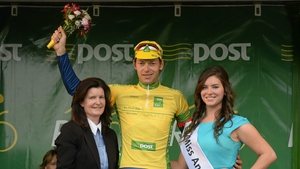 Marcin Bialoblocki finished third on the stage and takes control of the Rás leader's yellow jersey
