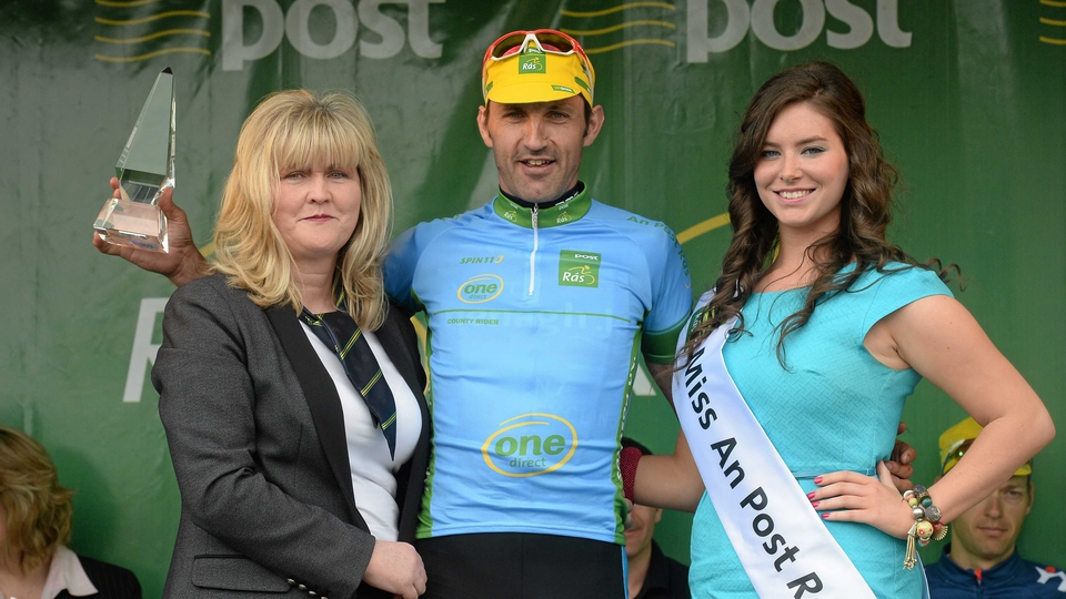 Meehal Fitzgerald was awarded the blue jersey as the stage's best amateur county rider for his 13th-place finish