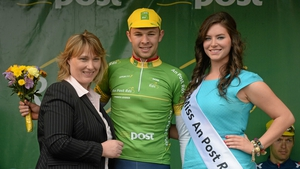 Owain Doull of the Great Britain National Team holds the An Post points-leader jersey