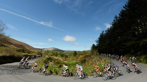 The riders make their way around a hairpin bend in Curenney, Co Tipperary
