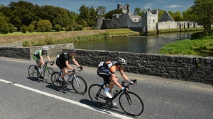 The breakaway group of (right to left) Dan Barry (NODE4 Giordana), Roger Aiken (Louth Prague Charter Team) and Sean Downey (An Post Chain Reaction) led by four minutes as they passed Adare Manor, Co Limerick