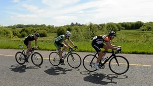 From right: Dan Barry (NODE4 Giordana), Sean Downey (An Post Chain Reaction) and Roger Aiken (Louth Prague Charter Team) on the Rathkeale Bypass