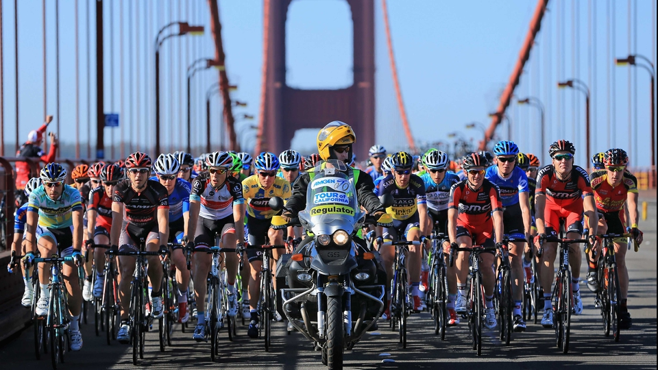 The Tour of California peloton makes its way over the Golden Gate bridge in San Francisco