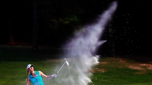 Jessica Korda watches her bunker shot during the Mobile Bay LPGA Classic in Mobile, Alabama