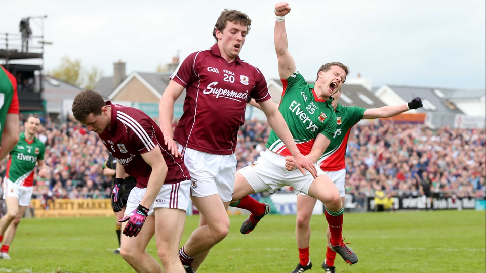 Mayo's Andy Moran celebrates his Connacht Championship goal against Galway at Pearse Stadium