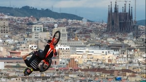 Steve McCann at the BMX Vert Final in Barcelona with La Sagrada Familia, Gaudi Cathedral in the background