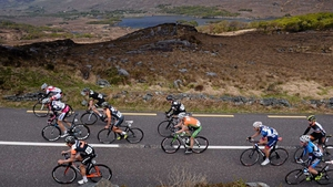 The leading group pass through Ladies View, Killarney, Co Kerry