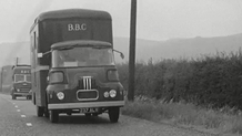 BBC vans on the road to Dublin to cover President Kennedy's visit, 1963