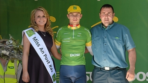 Owain Doull (Great Britain National Team) proudly wears the An Post points leader jersey