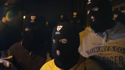Supporters of the English Defence League gathered near the scene after the attack